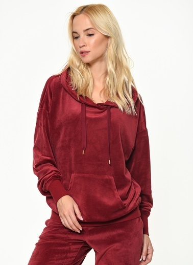 Only Kapüşonlu Sweatshirt Bordo
